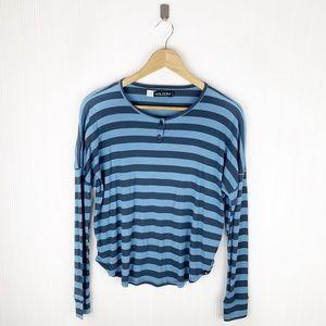 Volcom blue striped 2 button knit top